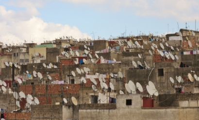 satellite dishes in old Fez Medina, Morocco.