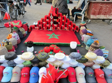 In the Medina-plaza. Items for sale. Marrakesh, Morocco.