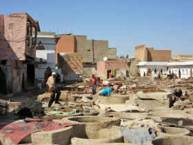 The leather tannery. Marrakesh, Morocco.