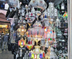 a display of lights in a Marrakesh souk, Morocco