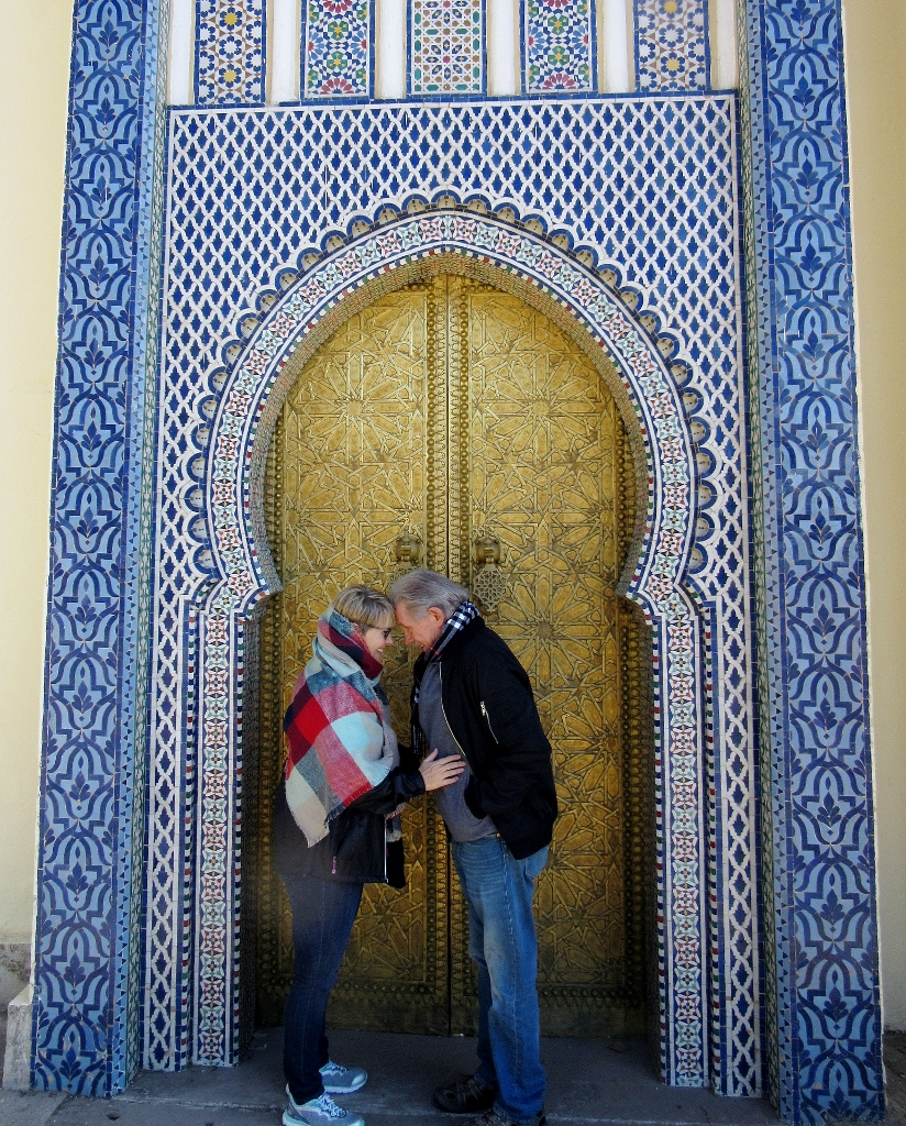 Our guide in Fez, Morocco said touching foreheads was a tradition but hey, we just wanted to get warm!