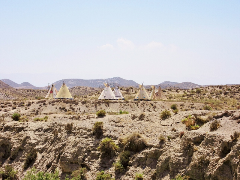 The Tabernas Desert in Spain (with some incongruous teepees!)