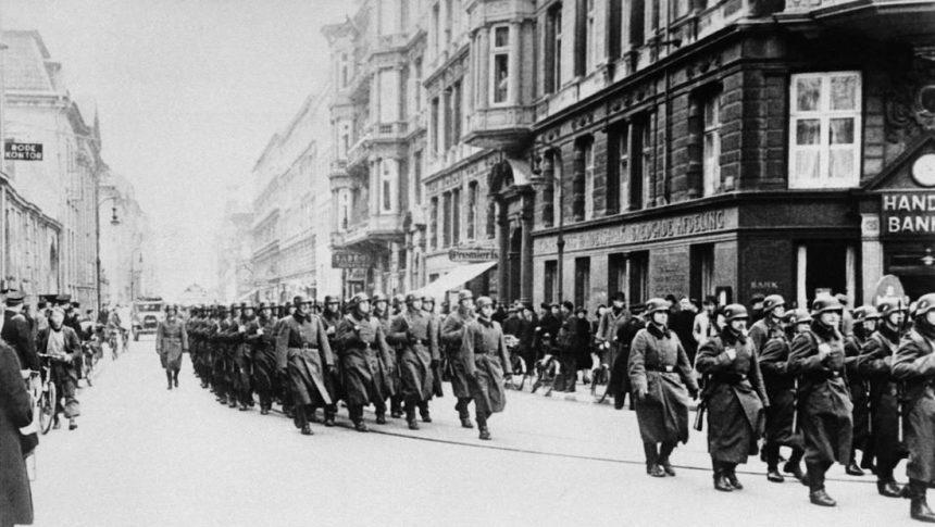 German troops parade in Copenhagen. Source