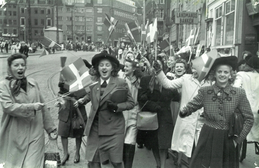 Celebrating the liberation of Denmark May 5, 1945 Source